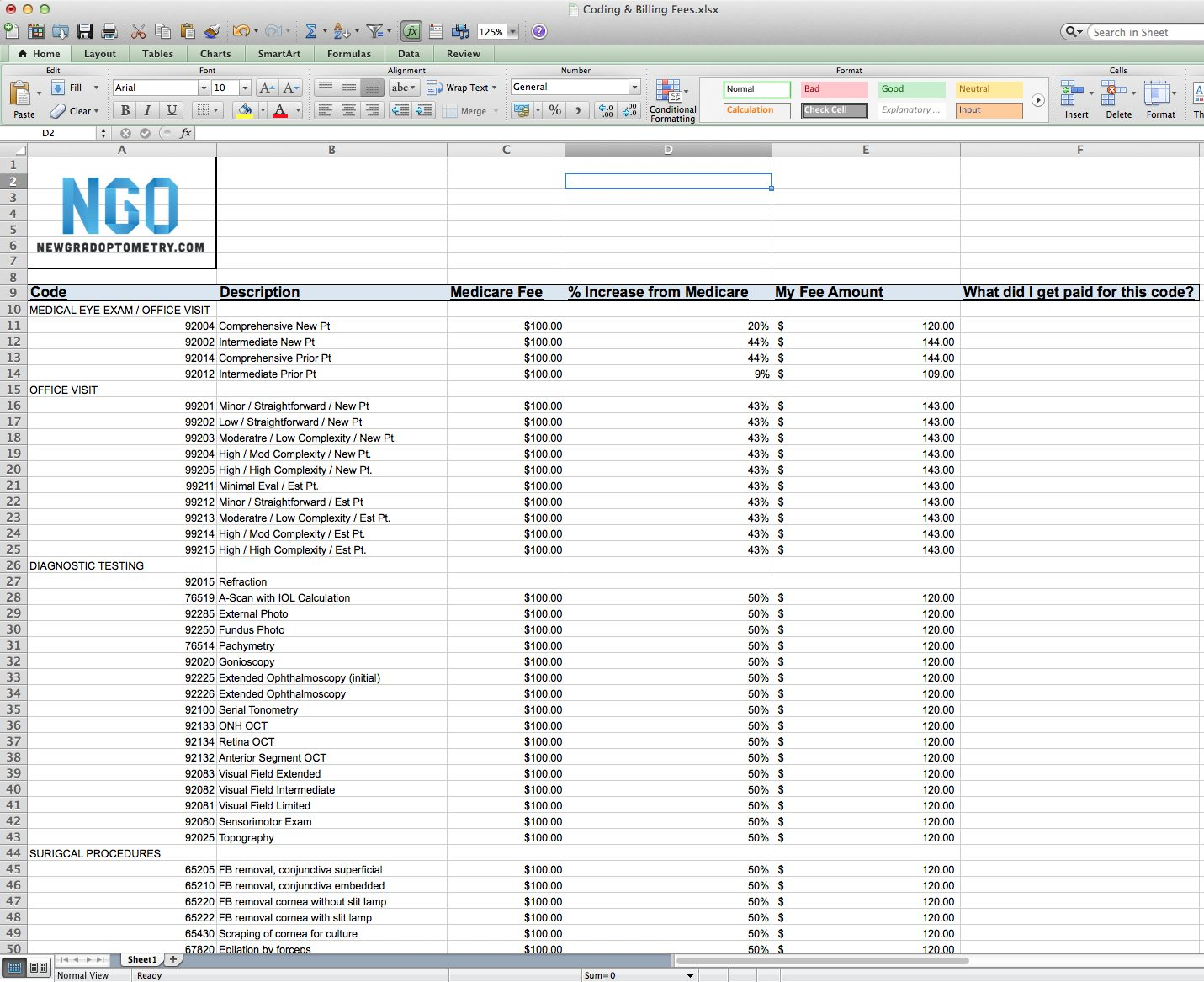 Setting Fees at Your Optometry Practice – Free Spreadsheet Included