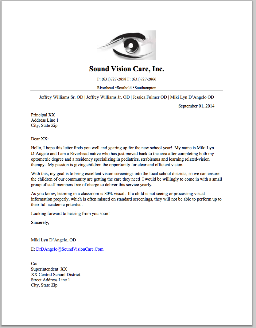 visiont therapy referral letter