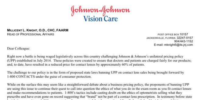 Letter From Vistakon® Head of Professional Affairs on UPP