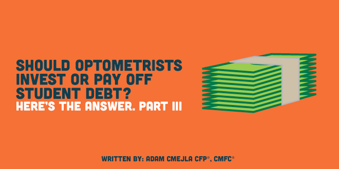 Should Optometrists Invest or Pay Off Student Debt? Here's the answer. Part III.