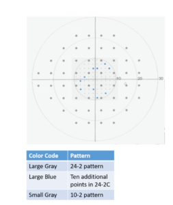 24-2C test pattern with the 10 new macular points in blue.