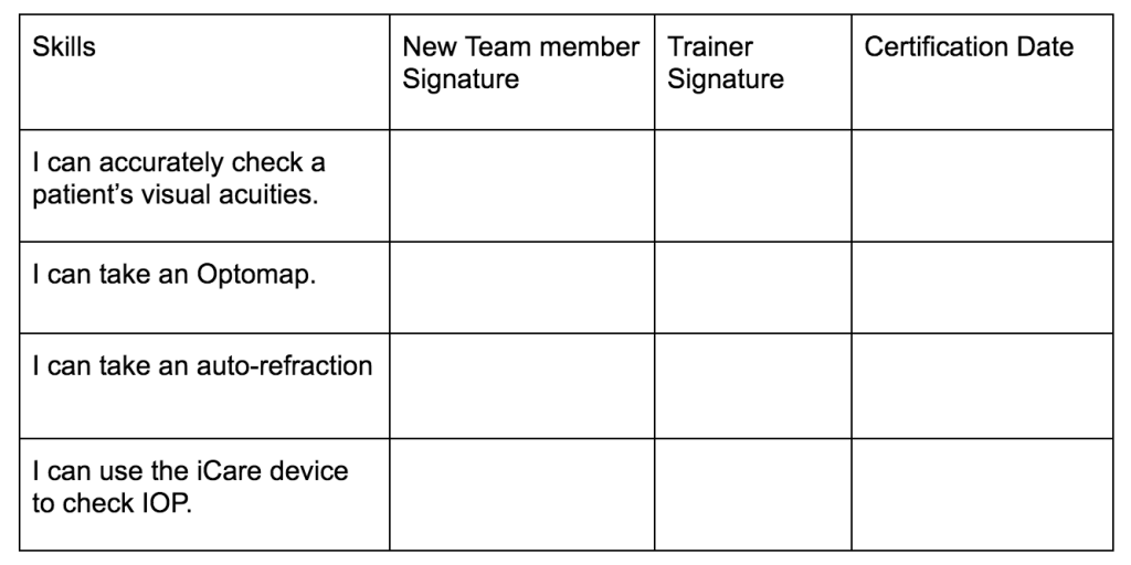 onboarding new healthcare employees skills tracker